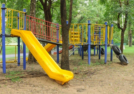 Playground for children in the park photo