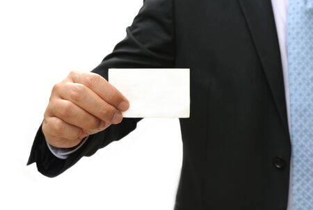 Business man holding blank card on white background Stock Photo