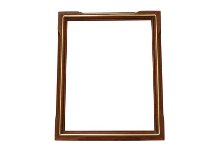Wood and Gold vintage frame isolated on white background Stock Photo - 16055399