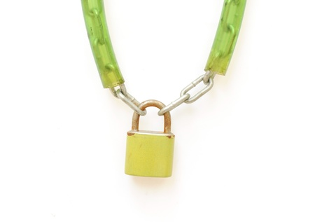 safekeeping: Metal padlock with key and chain on white background