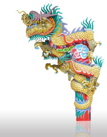 Chinese style dragon statue isolated white background in chinese temple supanburi thailand Stock Photo