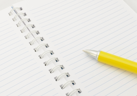 Notebook with yellow pen  Stock Photo - 16210895