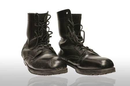 Combat boot isolated white background Stock Photo - 16330191