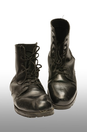 Combat boot isolated white background Stock Photo - 16330329