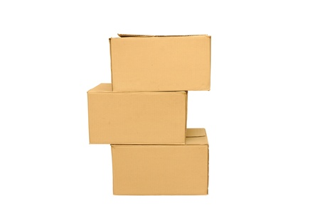 Cardboard boxes arranged on white background Stock Photo - 16330336