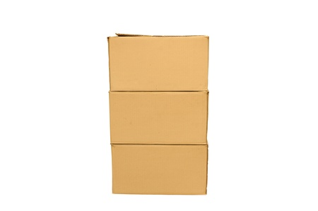 Cardboard boxes arranged on white background Stock Photo - 16330334