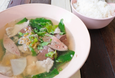 Ppork  and blood jelly soup with rice, asian and thai food photo