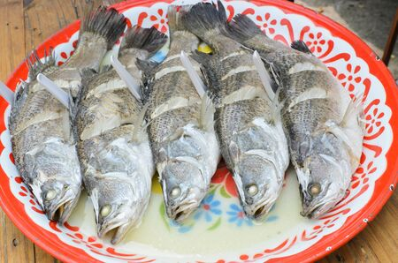 Steamed fish on plate,thai food Stock Photo