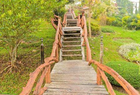 Wooden staircase with pathway in the garden Stock Photo