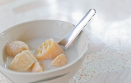 Banana boiled in coconut milk,thai dessert photo