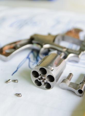 Dissasembled revolver gun .38 mm