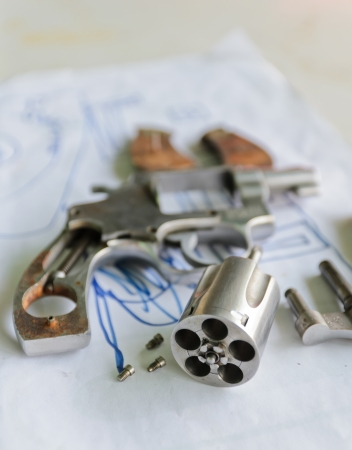 gun barrel: Dissasembled revolver gun .38 mm