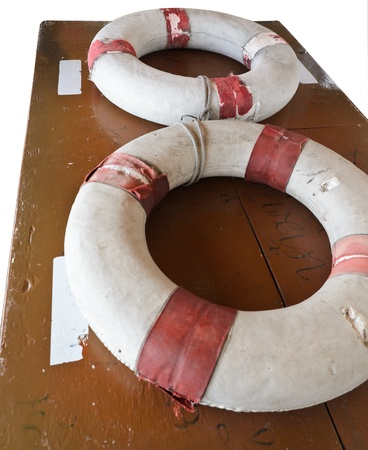 Old Lifebuoy with isolated white background photo