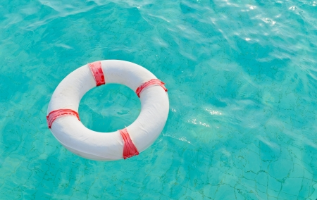 Lifebuoy in the pool background photo