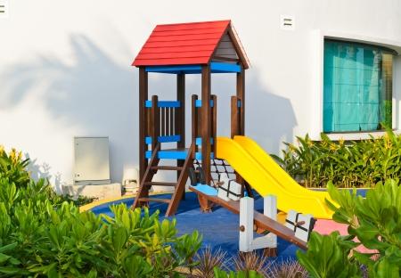 Playground beside building
