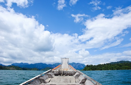 Floating ship in Ratchaprapa Dam  Suratthani Thailand photo