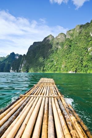 Bamboo raft on the dam, Ratchaprapa Dam Suratthani Thailand