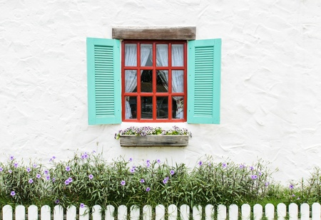 Colourful window beautiful in white wall background