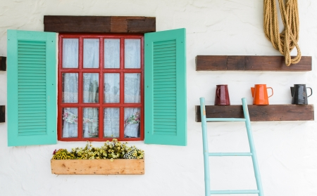 Colourful window beautiful in white wall background photo