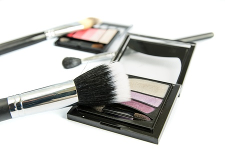Cosmetics set against a white background Stock Photo