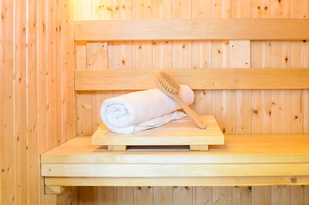 Inside sauna room and accessories