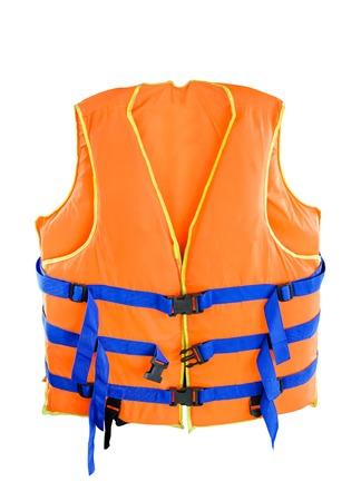 Orange Life jacket with isolated white  Stock Photo
