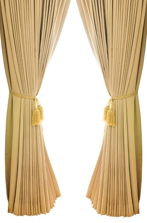 Gold luxury curtains with isolated white background