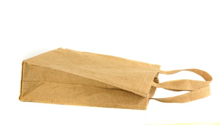Shopping bag made out of recycled  sack with isolated white  Stock Photo