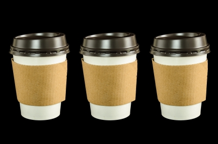 Paper coffee cup with isolated black
