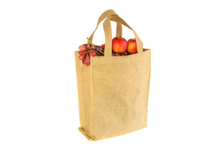 Shopping bag made out of recycled  sack with isolated white  photo