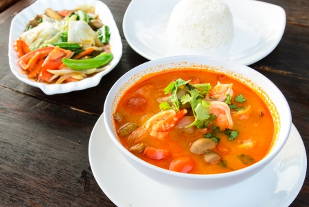 Hot and sour soup and shrimp in condensed water, Thai traditional food  Tom Yum Goong  photo