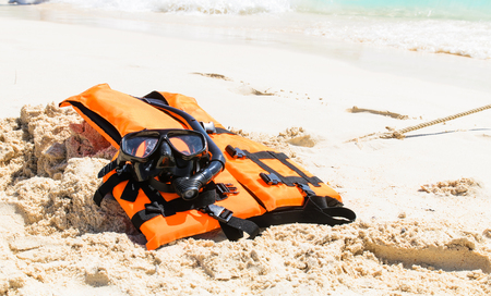 Snorkeling set and life jacket on the beach in Krabi Province,Thailand