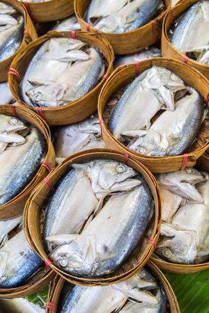 Thai Tuna,Mackerel fish in bamboo basket at market, Thailand photo