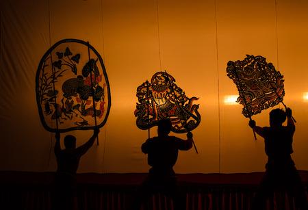 shadow puppet: The Grand Shadow Play. Thai shadow puppet art at Rachaburi province, Thailand.