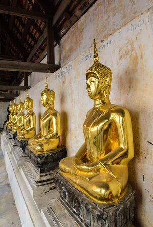 restrict: Buddha statute in thailand.They are public domain or treasure of Buddhism,no restrict in copy or use,no name of artist appear.This photo is taken under these conditions.