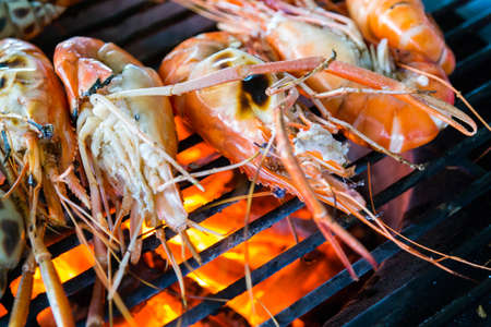 Delicious shrimp grill with charcoal Stock Photo