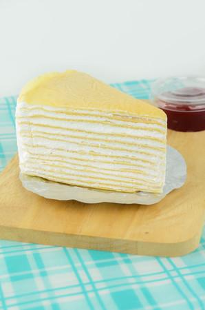 Crepe Cake Delicious Dessert on White Background Stock Photo