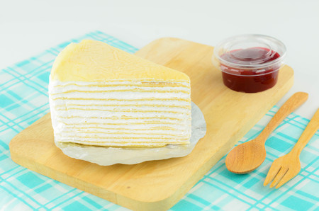 multi layered: Crepe Cake Delicious Dessert on White Background Stock Photo