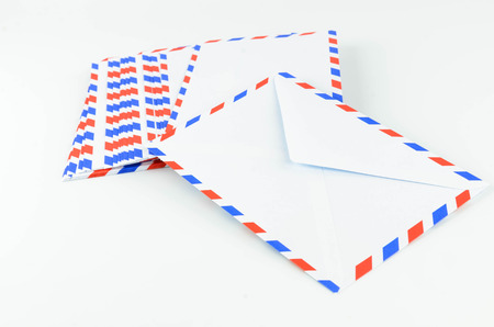 Post Envelope with White Background Stock Photo