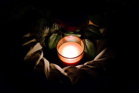 all souls' day: Memorial candle light and wreath