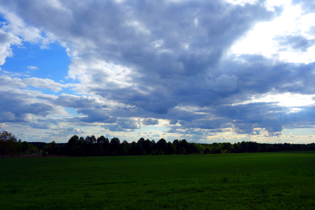 agricultural area: Cloudy sky over a green agricultural area