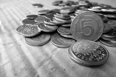 wine trade: Coins in black and white Stock Photo