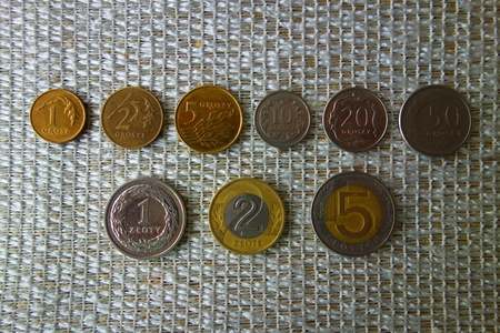 All polish coins. Currency of Poland. Stock Photo