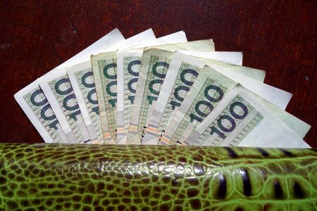 bankroll: Money under wallet. Polish currency.