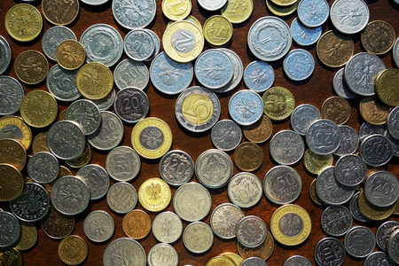 opulence: Polish coins. View from above.