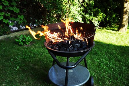 gas fireplace: Hot grill in garden