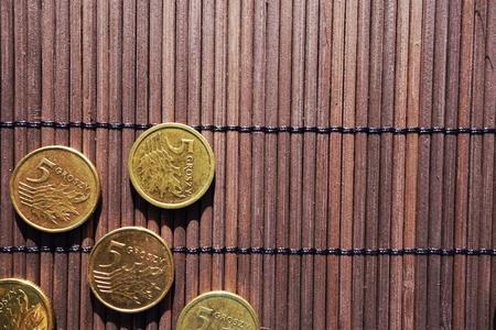 five cents: Polish five cents coins background