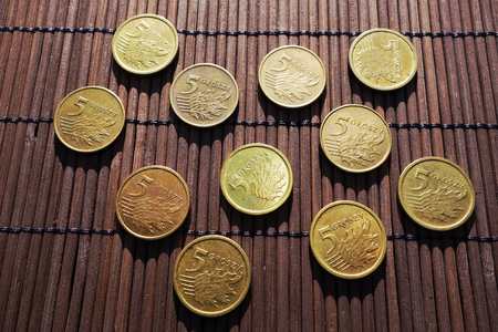 cents: Polish five cents coins. Top view. Stock Photo