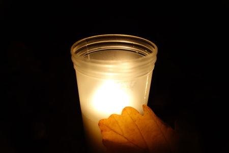 Memorial candle light. All Soul`s Day.