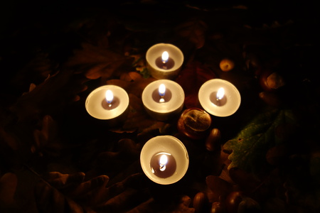all saints day: Memorial grave candle lights, All Saints Day.